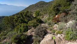 Der grün markierte Wanderweg in die Berge Methanas. (c) Tobias Schorr