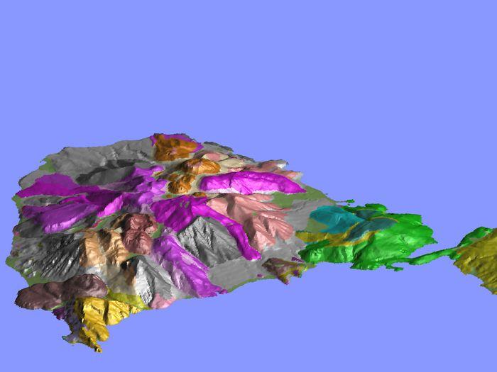 Dreidimensionalee Darstellung der Vulkanhalbinsel Methana durch (c)Lorenz Hurni 1995
