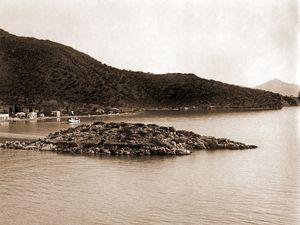 Historische Ansicht des Inselchens Nisaki ohne Bewuchs