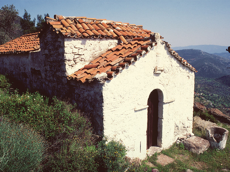 The chapel Agios Joannis above Megalopotami. (c) Tobias Schorr 1992