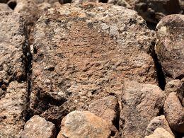 Antike Schriftzeichen auf einem Stein in der Trockenmauer. (c) Tobias Schorr