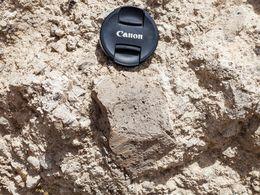 Detailaufnahme vom Bims. Der 72mm-Kameradeckel zum Größenvergleich. (c) Tobias Schorr