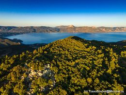 Early morning aerial photograph of the Chelonas summit and the gulf of Epidavros. (c) Tobias Schorr