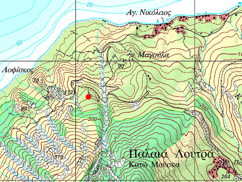 The location of the mysterious stone head at Kato Mouska. (c) ETH Zurich