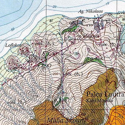 Ο γεωλογικός χάρτης με μερικά σημεία οπού υπήρξαν υδροθερμικοί κρατήρες στην περιοχή. (c) Tobias Schorr
