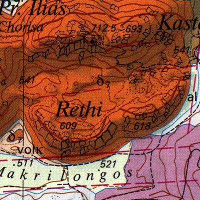 Ο γεωλογικός χάρτης με το ηφαίστειο Ρέθι. (c) ETH-Zürich