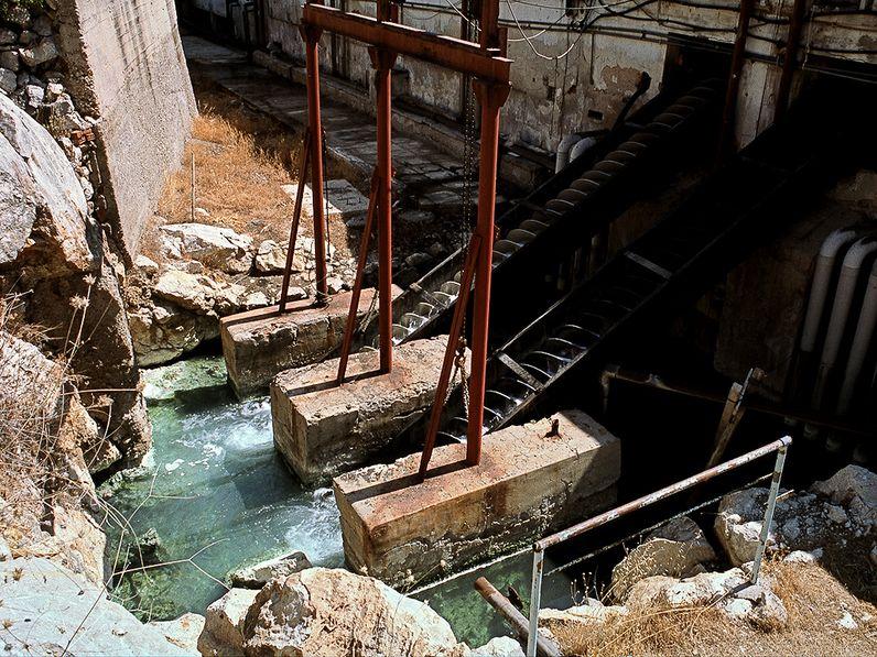 Mit diesen archimedischen Schnecken wurde das Heilwasser in die Heilbäder gefördert. (c) Tobias Schorr 1996