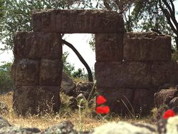 The ancient entrance to the Throni tower