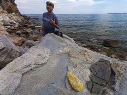 Der Geologe Dr. Tom Pfeiffer an den Felsen der Thiafi-Bucht. (c) Tobias Schorr