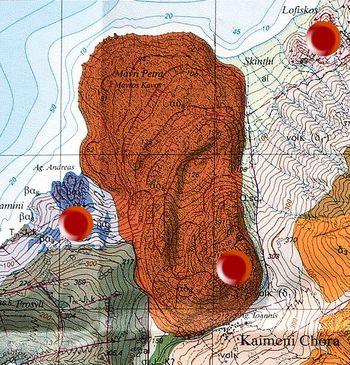 Geologische Karte der ETH-Zürich mit der Region des historischen Vulkans in Kameni Chora. Die roten Punkte zeigen alle Zonen vulkanischer Tätigkeiten: Lavadom Agios Andreas, historischer Vulkan Kameni Chora und der hydrothermale Explosionskrater Lofisko