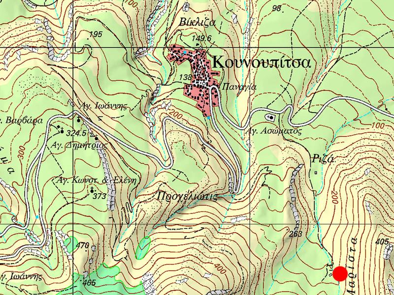 Die Lage der antiken Reste bei Kounoupitsa. (c) Tobias Schorr