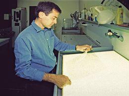 Dr. Lorenz Hurni working on the Methana map. (c) Tobias Schorr