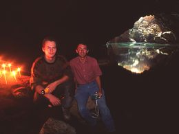 Tobias Schorr and Dr. Lorenz Hurni in the cave of the Pigeon´s at Methana 1991. (c) Tobias Schorr