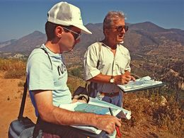 Dr. Lorenz Hurni and Dr. Panos Gaitanakis working om the geological map of Methana. 1991. (c) Tobias Schorr