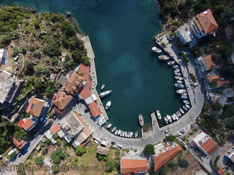 Aerial photography of the Vathy harbour. (c) Tobias Schorr