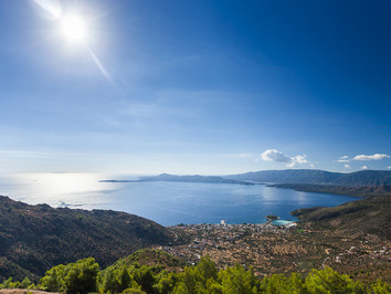 View from the mountains towards the Saronic gulf and the town of Methana (2014)
