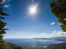 Beautiful view from the mountains towards the town of Methana and the Saronic gulf (2014)