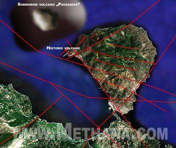 """Nordwestlich der Halbinsel Methana hat Dr. Evi Nomikou mit ihrem Forschungsteam den unterseeischen Vulkan """"Pausanias"""" entdeckt, der bis ins 17. Jahrhundert aktiv gewesen sein soll - der Vulkanismus ging also bis in jüngste Zeit weiter!"""