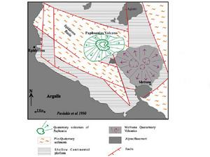 Ungefähre Lage der unterseeischen Eruptionszentren nördlich von Methana
