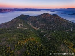 Aerial view of the northern Methana volcanoes and the Saronic gulf. June 2016. (c) Tobias Schorr