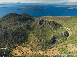 Aerial view of the northern volcanic massive of Methana peninsula. June 2016. (c) Tobias Schorr