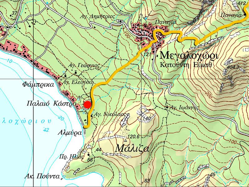 Lage der Akropolis und der orange Wanderweg. (c) Tobias Schorr