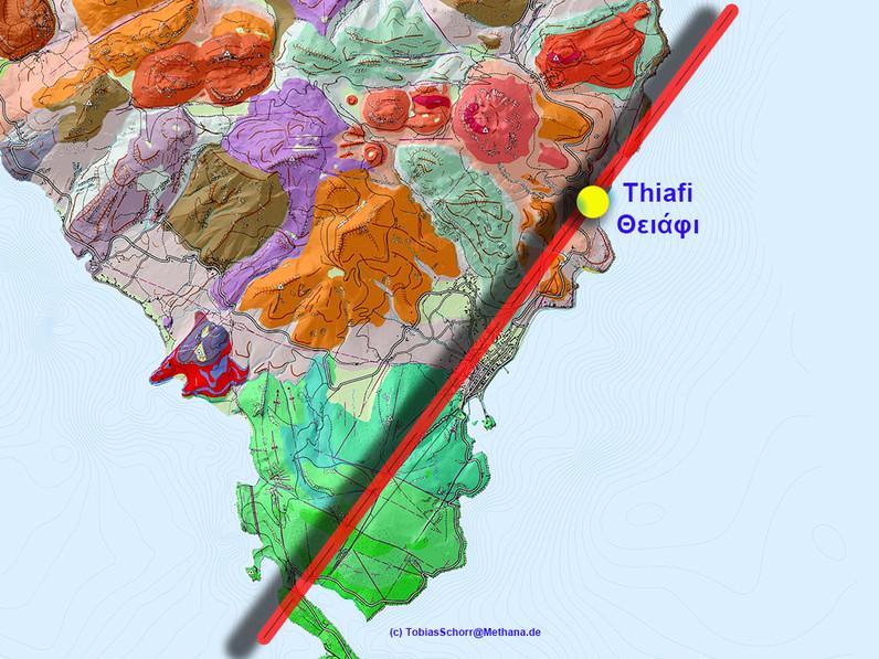 Στον γεωλογικό χάρτη του Λόρεντζ Χούρνι φαίνεται το ρήγμα που περνάει τα Μέθανα και στο οποίο βρίσκονται τα λουτρά και η μοφέττα. (c) Tobias Schorr