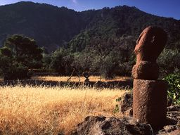 The stone head and the mountains of Methana. (c) Tobias Schorr 1996