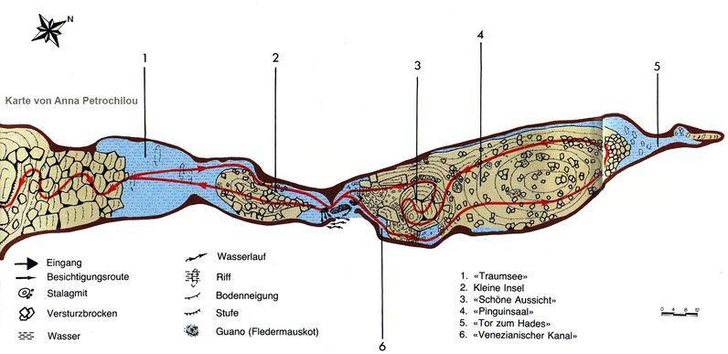 Plan der Taubenhöhle von Anna Petrochilou