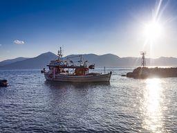 Fischerboot fährt aus dem Hafen von Vathy