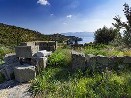 Ruine einer frühchristlichen Kapelle auf der antiken Akropolis von Vathy