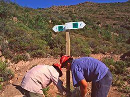 Die Tafeln der Route C gibt es heute nur noch an wenigen Stellen, dagegen ist alles, was mit grüner Farbe auf Felsen gemalt wurde, vorhanden.