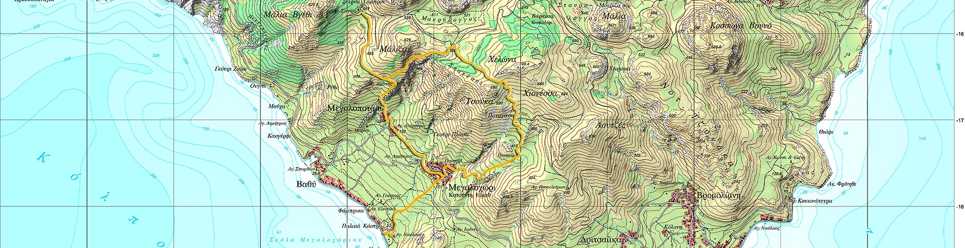 Hiking route D on Methana